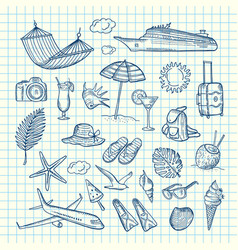 hand drawn summer travel elements vector image
