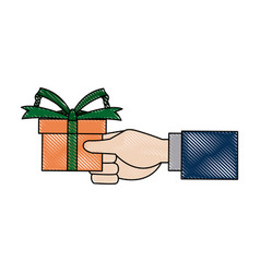 Hand holding gift box wrap ribbon decoration vector