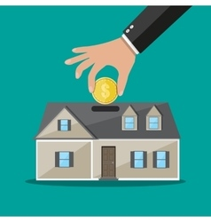 Hand put coin in piggy bank house vector