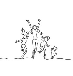 Happy mother dancing with children and dog vector