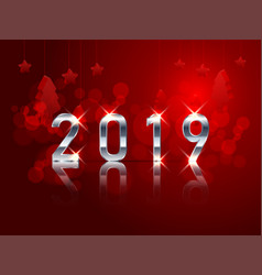 Happy new year 2019 with abstract red bokeh vector