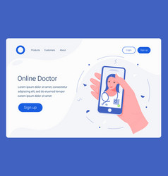 Healthcare mobile service landing page template vector