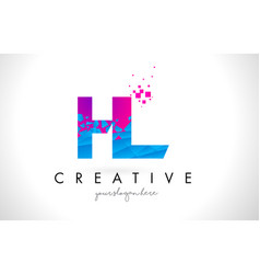 Hl h l letter logo with shattered broken blue vector