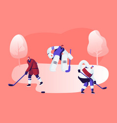 Hockey game competition on ice rink attacking vector