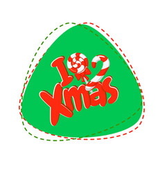 i love xmas christmas lettering with candy canes vector image