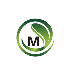 Leaf initial m logo design template vector