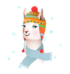 llama wears peruvian hat with ethnic ornament vector image