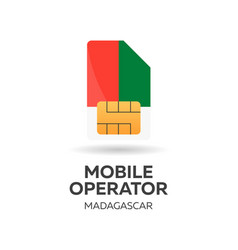 Madagascar mobile operator sim card with flag vector