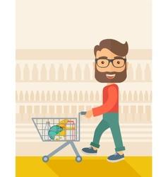 Male Shopper Pushing a Shopping Cart vector image