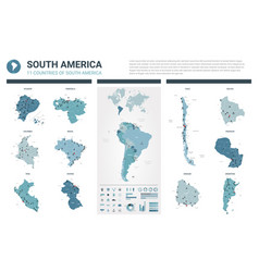 maps set high detailed 11 maps of south america vector image