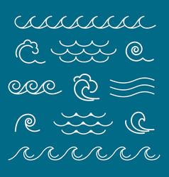 Marine waves line graphics vector