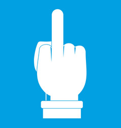 middle finger hand sign icon white vector image