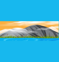 mountain view at sunset vector image