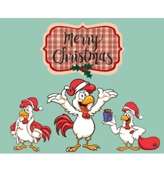 New Year 2017 The rooster dressed as Santa Claus vector image