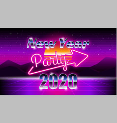 new year 2020 christmas party banner synthwave 80s vector image
