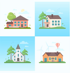 nice houses - set of modern flat design style vector image