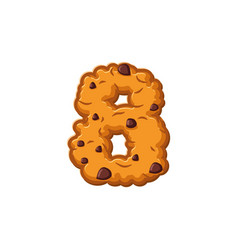 number 8 cookies font oatmeal biscuit alphabet vector image