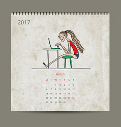 Office life calendar 2017 design vector