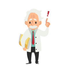 Old male scientist stands with folder and hand vector