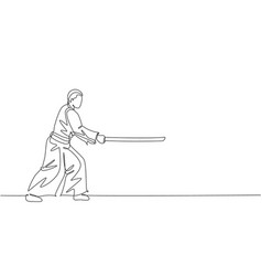 One continuous line drawing man aikido fighter vector