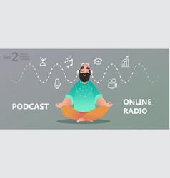 online training podcast radio vector image