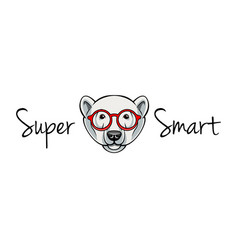 polar bear face in geek glasses super smart vector image