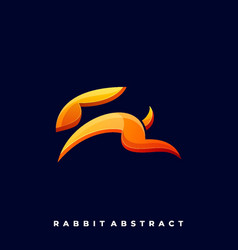 Rabbit line art template vector