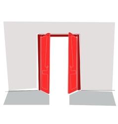 Red doors flat line vector