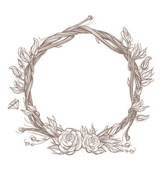 Round frame made of branches with roses and vector