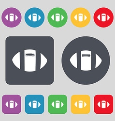rugby ball icon sign A set of 12 colored buttons vector image
