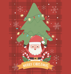 santa tree and candy canes merry christmas card vector image