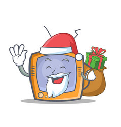 Santa tv character cartoon object with gift vector