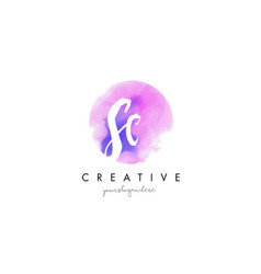 Sc watercolor letter logo design with purple vector