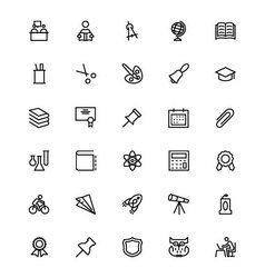 School and Education Line Icons 2 vector