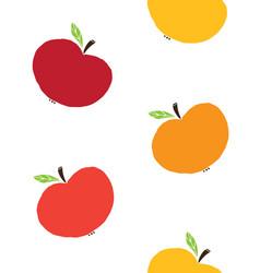 seamless pattern doodle sketch apples vector image