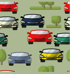 seamless pattern of cars trees vector image