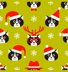 Seamless pattern with cats and santa hats vector