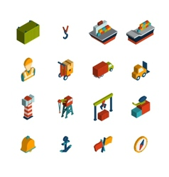 Seaport Icon Isometric vector