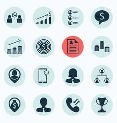 Set of 16 human resources icons includes job vector