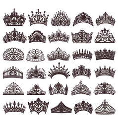 Set of silhouettes of ancient crowns tiaras tiara vector