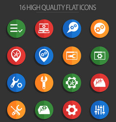 Settings 16 flat icons vector