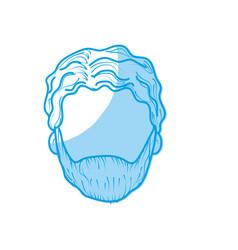 Silhouette nice man face with haistyle and beard vector
