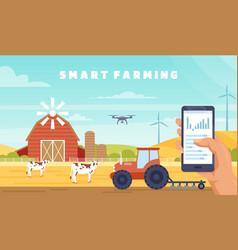 Smart farming agriculture technology cartoon vector