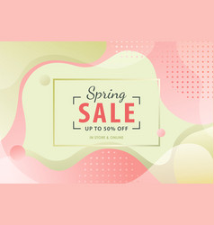 spring sale background with pink and green fluid vector image