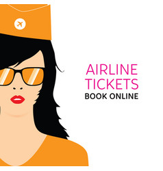 stewardess in orange uniforms with booking online vector image