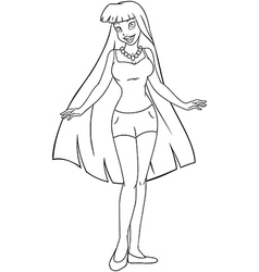Teenage Girl In Tanktop And Shorts Coloring Page vector image