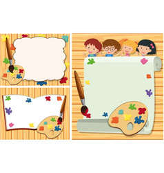 Three border templates with kids and paint palette vector