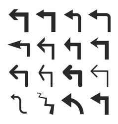 Turn Left Flat Icon Set vector image