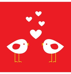 Two cute birds with hearts vector