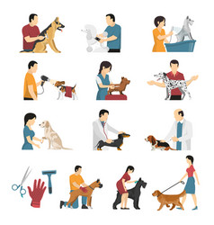 Vet dogs service set vector